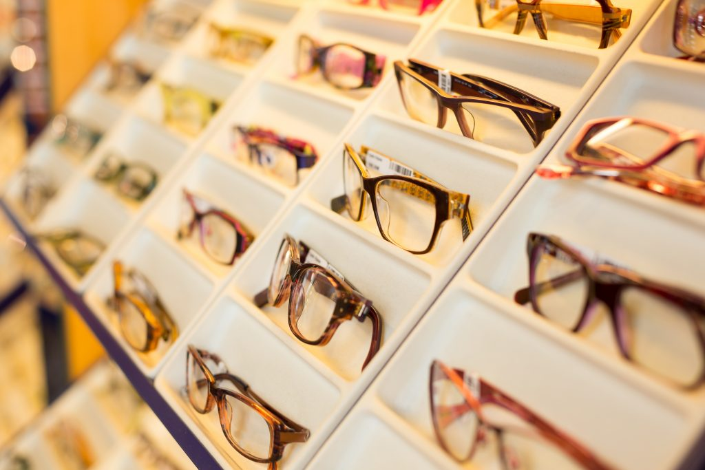 Eyglasses, shades and sunglasses in optician's shop