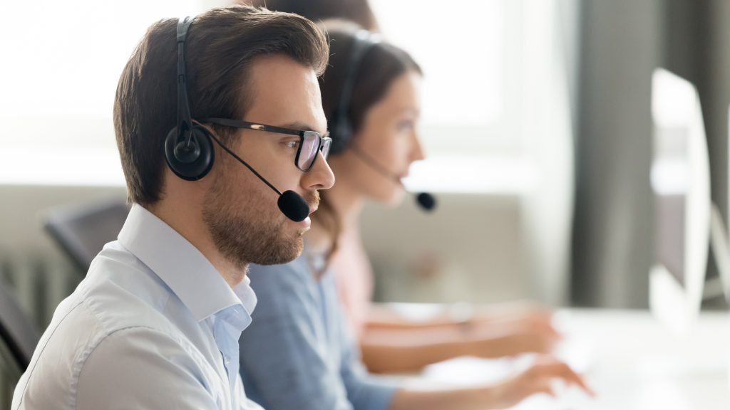 Employee working in customer support service office